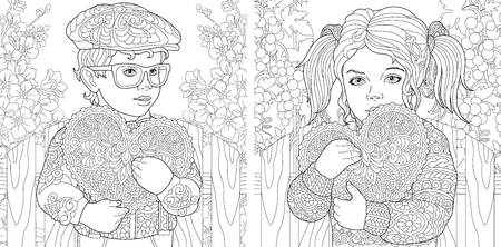 Love. Coloring Pages. Coloring Book for adults. Colouring pictures with lovely kids holding valentines day hearts. Illustration