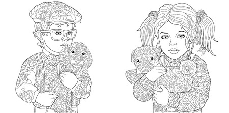 Kids. Coloring Pages. Coloring Book for adults. Colouring pictures with children holding dogs. drawn in zentangle style. Stockfoto - 110955687