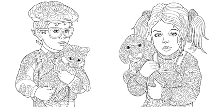 Coloring Pages. Coloring Book for adults. Colouring pictures with boy and girl holding cat and dog drawn in zentangle style.