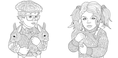 Boy and Girl. Coloring Pages. Coloring Book for adults. Colouring pictures with kids and farm animals drawn in zentangle style. Stockfoto - 110955688