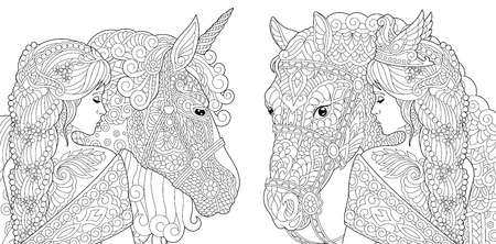 Coloring Pages. Coloring Book for adults. Colouring pictures with fantasy girl and unicorn horse drawn in zentangle style. Ilustrace