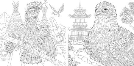 Gekleurde pagina's. Kleurboek voor volwassenen. Kleurplaten met kaketoe en adelaar. Anti-stressprogramma schetstekening uit de vrije hand met doodle en zentangle-elementen.