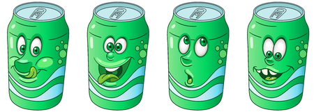 Soda Can. Drink and Beverage concept. Emoji Emoticon collection. Cartoon characters for kids coloring book, coloring pages, t-shirt print, icon, label, patch, sticker. Stockfoto - 112821077