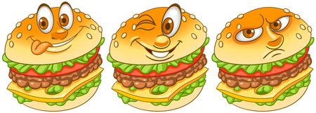 Burger. Hamburger. Cheeseburger. Fast Food concept. Emoji Emoticon collection. Cartoon characters for kids coloring book, coloring pages, t-shirt print, icon, , label, patch, sticker. Banco de Imagens - 112826350