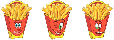 French Fries. Snack Food concept. Emoji Emoticon collection. Cartoon characters for kids coloring book, colouring pages, t-shirt print, icon,  label, patch, sticker. Banco de Imagens - 114904372