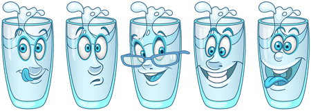Water Glass. Beverage Drink concept. Emoji Emoticon collection. Cartoon characters for kids coloring book, colouring pages, t-shirt print, icon,  label, patch, sticker. Stockfoto - 114904390