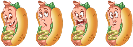 Hot Dog. American Hotdog. Fast Food concept. Emoji Emoticon collection. Cartoon characters for kids coloring book, colouring pages, t-shirt print, icon,  label, patch, sticker. Banco de Imagens - 114904393