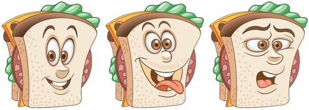 Sandwich. Snack Food concept. Emoji Emoticon collection. Cartoon characters for kids coloring book, colouring pages, t-shirt print, icon,  label, patch, sticker.