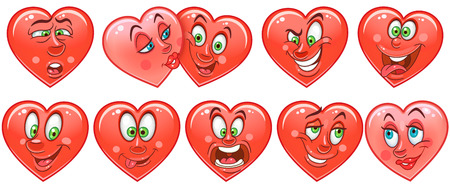Heart collection. Emoticons. Smiley. Emoji. Love symbol. Cartoon design element for Valentines Day greeting card, kids coloring book page, t-shirt print, icon,  label, patch, sticker. Stockfoto - 114904585