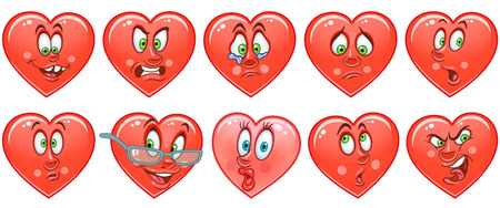 Heart collection. Emoticons. Smiley. Emoji. Love symbol. Cartoon design element for Valentines Day greeting card, kids coloring book page, t-shirt print, icon,  label, patch, sticker. Stockfoto - 114904590