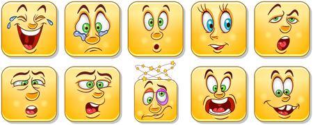 Cartoon faces collection. Emoticons. Smiley Emoji. Design, print, icon,  label, patch, sticker. Stockfoto - 114904593