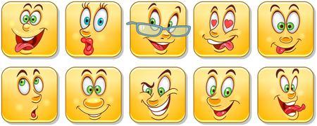 Cartoon faces collection. Emoticons. Smiley Emoji. Design, print, icon,  label, patch, sticker.