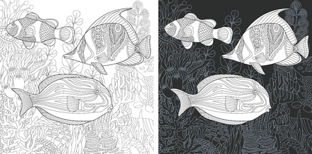 Coloring Page. Coloring Book. Colouring picture with Tropical Fishes drawn in hand draw style. Antistress freehand sketch drawing. Vector illustration.