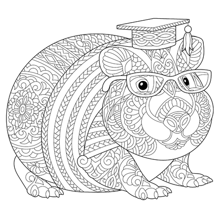 Coloring page. Coloring book. Anti stress colouring picture with hamster or guinea pig. Freehand sketch drawing with doodle  elements.