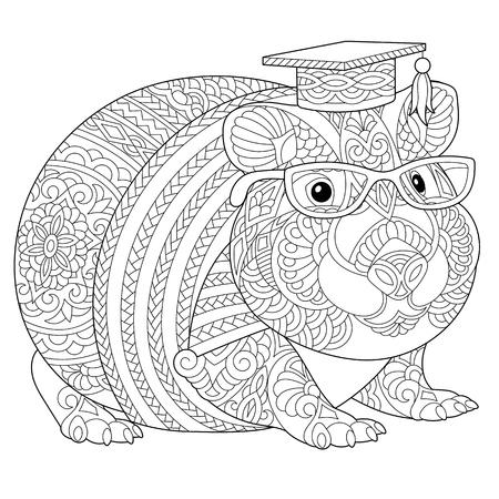 Malvorlagen. Malbuch. Anti-Stress-Malbild mit Hamster oder Meerschweinchen. Freihandskizzenzeichnung mit Doodle-Elementen. Vektorgrafik
