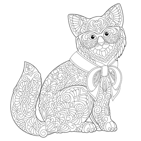 Coloring page. Coloring book. Anti stress colouring picture with cat. Freehand sketch drawing with doodle elements.