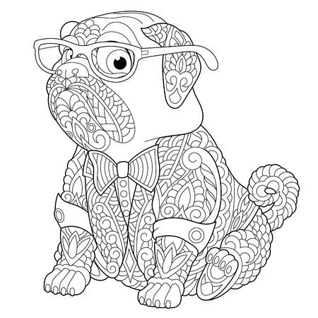 Kleurplaat. Kleurboek. Anti stress kleurplaat met pug dog. Schetstekening uit de vrije hand met doodle-elementen.