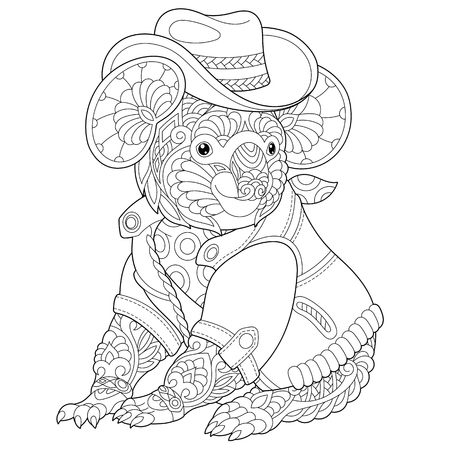Coloring page. Coloring book. Anti stress colouring picture with koala bear. Freehand sketch drawing with doodle elements.