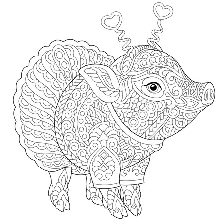 Pig. Coloring page. Coloring book. Anti stress colouring picture with cute piggy. 2019 Chinese New Year animal symbol. Freehand sketch drawing with doodle elements. Ilustração