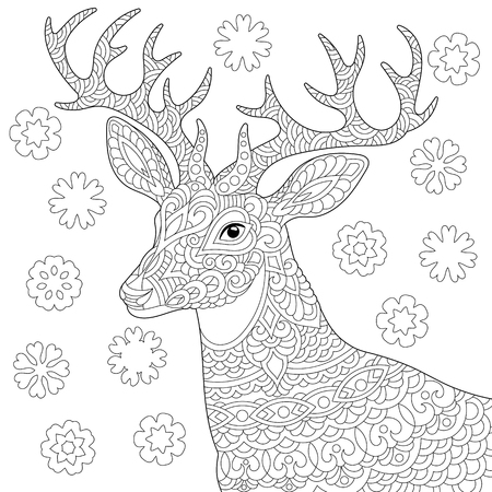 Coloring page. Coloring book. Anti stress colouring picture with deer. Christmas reindeer and vintage snowflakes. Freehand sketch drawing with doodle elements. Banco de Imagens - 118879870