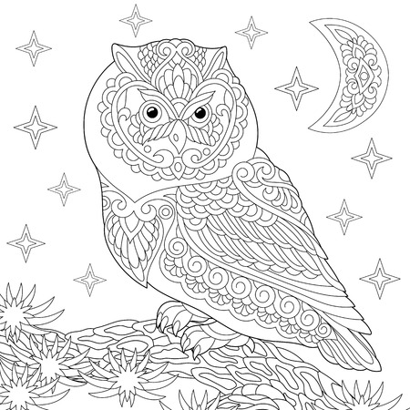 Coloring page. Coloring book. Anti stress colouring picture with owl. Freehand sketch drawing with doodle elements. Ilustração