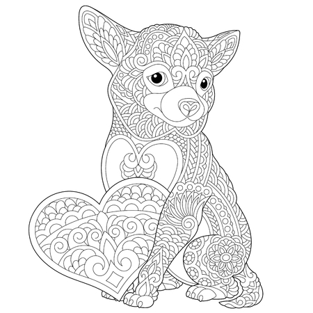 Coloring page. Lovely dog with heart for Valentines Day card. Anti stress colouring picture with chihuahua. Freehand sketch drawing with doodle elements.