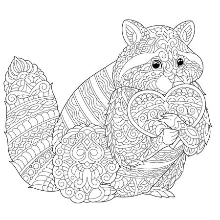 Coloring page. Lovely raccoon with heart for Valentines Day card. Anti stress colouring picture with chihuahua. Freehand sketch drawing with doodle elements. Ilustração