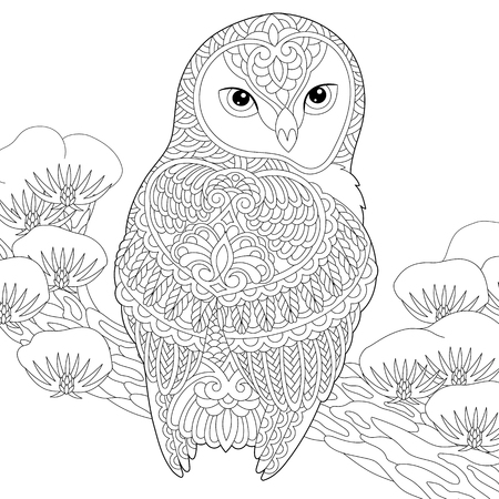 Coloring page. Coloring book. Anti stress colouring picture with owl. Freehand sketch drawing with doodle elements. Stock Illustratie