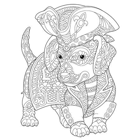 Coloring page. Coloring book. Anti stress colouring picture with dachshund dog. Freehand sketch drawing with doodle elements.