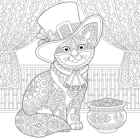 St. Patrick Day coloring page. Colouring picture with cat in leprechaun costume. Freehand sketch drawing for adult coloring book.