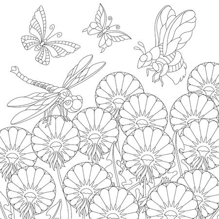 pagina da colorare. Immagine da colorare con farfalle, libellule, api e fiori di tarassaco. Disegno a mano libera per libro da colorare per adulti.
