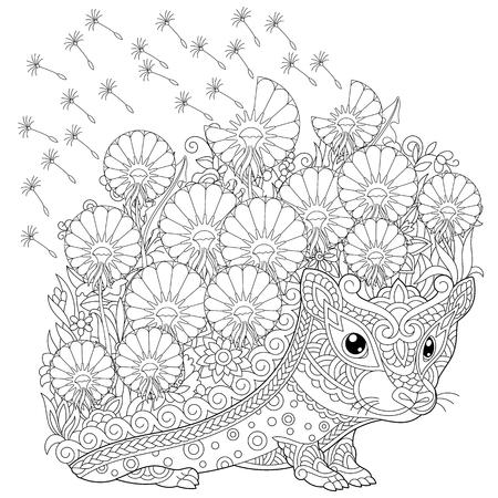 página para colorear. Cuadro para colorear con erizo y flores de primavera. Dibujo de boceto a mano alzada para libro de colorear para adultos. Ilustración de vector