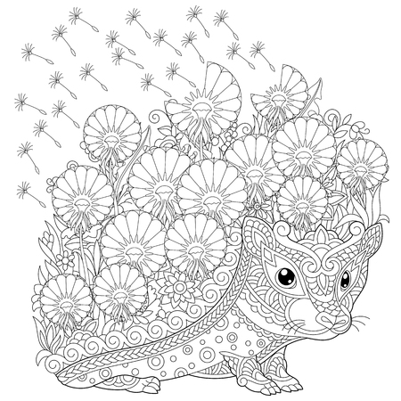 coloring page. Colouring picture with Hedgehog and spring flowers. Freehand sketch drawing for adult coloring book.