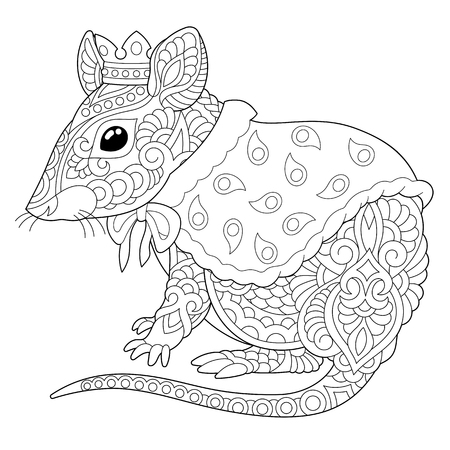 Coloring page. Coloring book. Anti stress colouring picture with mouse. Rat - 2020 year symbol in Chinese zodiac calendar. Freehand sketch drawing with doodle and elements.