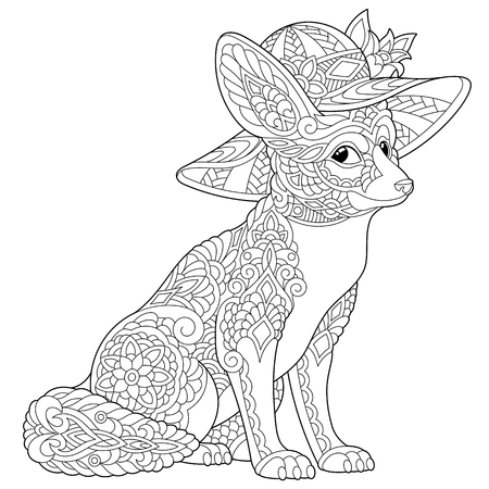 Coloring page. Coloring book. Anti stress colouring picture with fennec fox. Freehand sketch drawing with doodle and elements.
