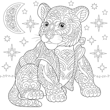 Coloring page. Coloring book. Anti stress colouring picture with tiger baby cub. Freehand sketch drawing with doodle and elements.