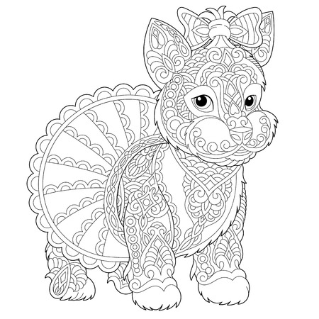Coloring page. Coloring book. Anti stress colouring picture with Yorkshire terrier dog. Freehand sketch drawing with doodle and elements.