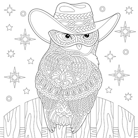 Coloring page. Coloring book. Anti stress colouring picture with owl. Freehand sketch drawing with doodle and elements. Ilustração