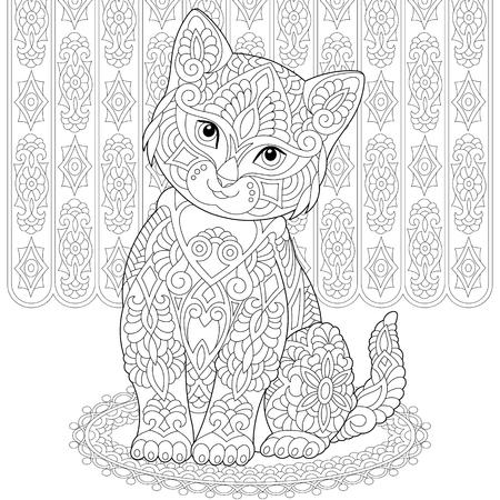 Pagina da colorare. Libro da colorare. Immagine da colorare antistress con gatto. Disegno a mano libera con scarabocchi ed elementi.