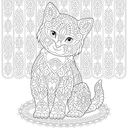 Coloring page. Coloring book. Anti stress colouring picture with cat. Freehand sketch drawing with doodle and elements.