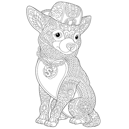 Coloring page. Coloring book. Anti stress colouring picture with chihuahua dog. Freehand sketch drawing with doodle and elements. Иллюстрация