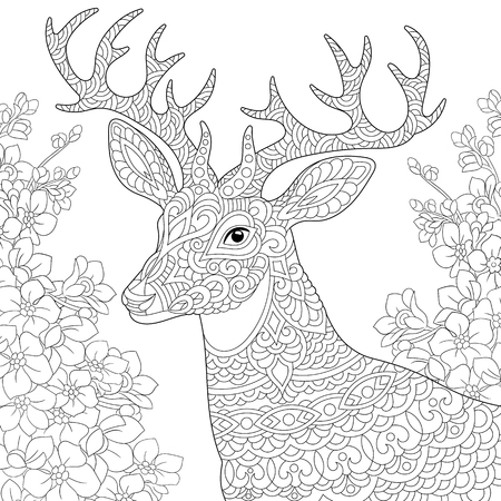 Coloring page. Coloring book. Anti stress colouring picture with deer and spring flowers. Freehand sketch drawing with doodle and elements.