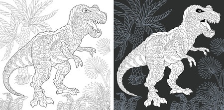 Coloring Page. Coloring Book. Dinosaur collection. Colouring picture with Tyrannosaurus rex drawn in style. Antistress freehand sketch drawing. Vector illustration. Ilustração