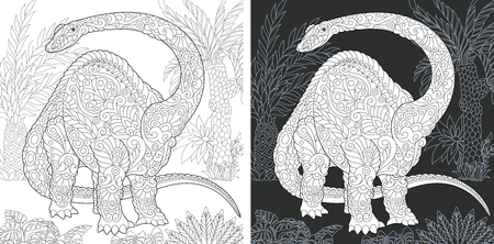 Coloring Page. Coloring Book. Dinosaur collection. Colouring picture with Brontosaurus drawn in style. Antistress freehand sketch drawing. Vector illustration.