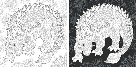 Coloring Page. Coloring Book. Dinosaur collection. Colouring picture with Ankylosaurus drawn in style. Antistress freehand sketch drawing. Vector illustration.