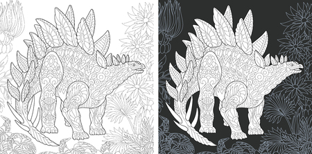 Coloring Page. Coloring Book. Dinosaur collection. Colouring picture with Stegosaurus drawn in style. Antistress freehand sketch drawing. Vector illustration.