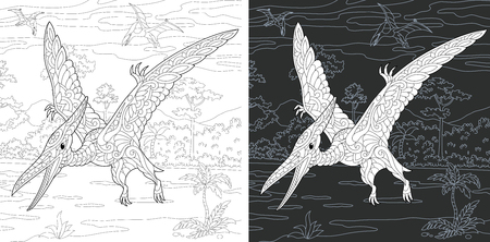 Coloring Page. Coloring Book. Dinosaur collection. Colouring picture with Pterodactyl drawn in style. Antistress freehand sketch drawing. Vector illustration. Ilustração