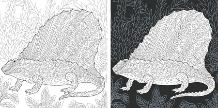Coloring Page. Coloring Book. Dinosaur collection. Colouring picture with Dimetrodon drawn in style. Antistress freehand sketch drawing. Vector illustration.