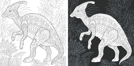 Coloring Page. Coloring Book. Dinosaur collection. Colouring picture with Hadrosaur drawn in style. Antistress freehand sketch drawing. Vector illustration.