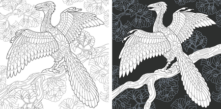 Coloring Page. Coloring Book. Dinosaur collection. Colouring picture with Archeopteryx drawn in style. Antistress freehand sketch drawing. Vector illustration.